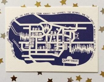 "NEW Buffy the Vampire Slayer ""Sunnydale"" Papercut Postcard"