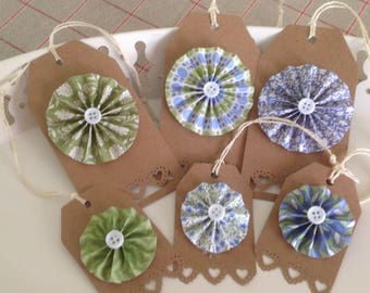 Set of 6 tags with paper rosettes. Green and blue colors.
