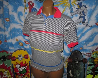 80s Members Only Striped polo shirt - sz M - vintage preppy lacoste rainbow