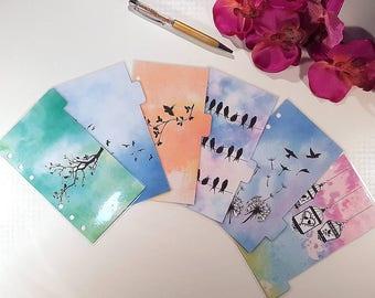Bird Watercolour Dividers for Filofax Kikki k