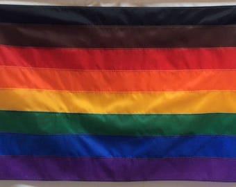 Philadelphia's 8-Stripe, Rainbow Pride Flag 3' x 5' Flag, Black, Brown, Red, Orange, Yellow, Green, Royal Blue, Purple, Custom Sizes Avail
