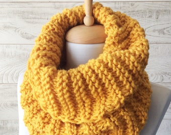 Knit Infinity Scarf Mustard Knit Scarf Winter Scarf Knit Cowl Chunky Knit Scarf Gift For Her Yellow Scarf Fast Delivery / Many Colors