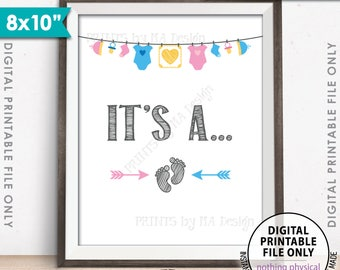 """Gender Reveal Sign, It's A... Gender Reveal Party Sign, Pink or Blue, He or She, PRINTABLE 8x10"""" Instant Download Gender Reveal Party Decor"""