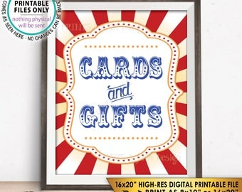 """Cards and Gifts Sign, Cards & Gifts Carnival Theme Party Sign, Carnival Signs, Circus Theme Party, PRINTABLE 8x10/16x20"""" Instant Download"""