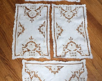 Vintage 1940's Hand Embroidered Placemats set of 8
