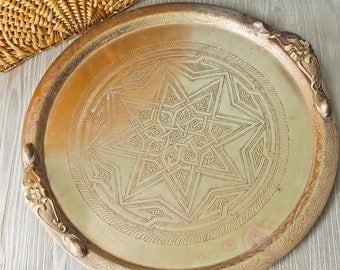 Large Etched Brass Heavy Tea Tray with Handles: Vintage Moroccan Tabletop Tray Marked FES With Eight Pointed Star Motif