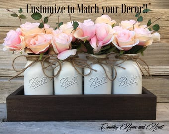 Valentines Centerpiece, Rustic Valentines Gift, Home Decor, Country Home Decor, Rustic Wood Box with Quart Painted Mason Jars