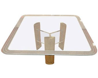 Milo Baughman Style Brass and Glass Dining Table with Lucite Base