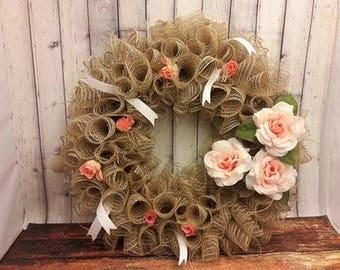 Burlap Deco Mesh Wreath Home Decor