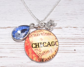 Chicago Vintage Map Pendant with Silver Bear and Gem Charms 20 inch Chain Necklace