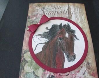 """Horse Sympathy Card, """"With Sympathy"""""""