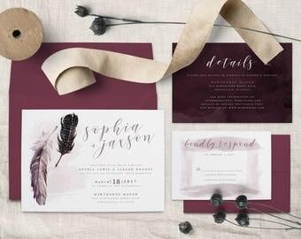 Bohemian Feather Wedding Invitation Suite(DIGITAL FILE)