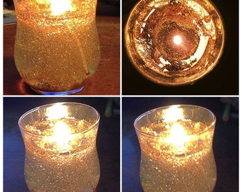 Glittering Gold Carmel Apple Scented Gel Wax Handmade Votive Candle By Nickole Schmidt for WimsicalGlassography