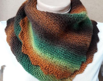 Hand knit accessories women scarf wraps Mom gift wife infinity scarf winter Colour Fall scarf shawl Warm scarf Green triangular scarf bactus