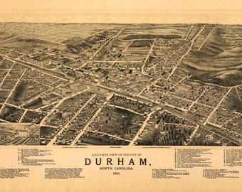 Durhan NC Panoramic Map dated 1891. This print is a wonderful wall decoration for Den, Office, Man Cave or any wall.