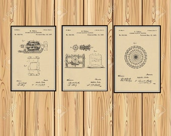 Group of Three Tesla Electrical patents. Available in several sizes and Colors see color chart.