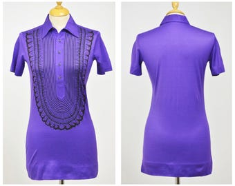 ROBERTA di CAMERINO authentic vintage 1970s purple Trompe l'oeil printed polo shirt New/Never used - size S