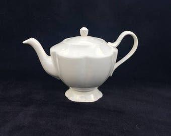 ON SALE vintage cream porcelain teapot vintage Godinger teapot cream porcelain teapot vintage wedding teapot garden party teapot vintage God