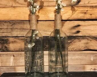 Wine Bottle Vases;Wine Bottle Decor;Home Decor;Upcylced Wine Bottle;Wine Bottle Label;Wine;Vase;Wine Decor;Recylced Wine Bottle