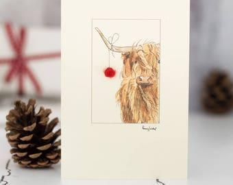 Highland cow Christmas Card, festive cow Xmas card, Highland cow and bauble Christmas card, handmade holiday card