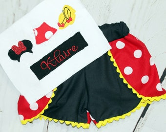 Girls Minnie Mouse Shirt- Toddler Girls- Minnie Shirt- Minnie Mouse outfit- Baby Girls- Minnie Ears Shirt- 6m, 12m, 18m, 2t, 3t, 4t, 5t, 6
