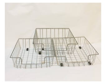 Vintage Industrial Metal Wire Baskets Office Storage