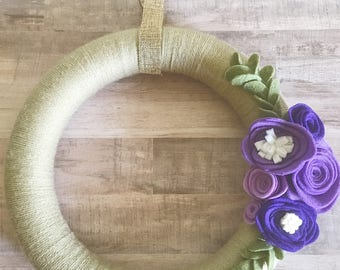 Felt Flower Wreath, Yarn Wrapped, Handmade Flowers, Door Hanger, Front Door Hanger, 12in Wreath, Home Decor, Decor for Home, Exterior Decor
