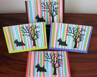 4 Scottie Dog Greeting Cards Blank ~ Can be used for any occasion, Birthday, Thank you, Get well soon,  or 'Just a Note'
