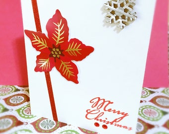 Poinsettia Card - Christmas Card - Merry Christmas Card - Christmas Blank Card - Holiday Card