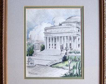 Columbia University Library Teachers College - Original Watercolor and Charcoal - L. Marshall - 1937