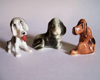 Three Miniature Dog Figurines - Two Japan and One Unmarked Dog Figurine