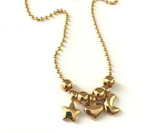 Vintage Heart Moon Star Celestial Charm Necklace