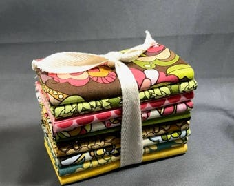 "HUGE SUMMER SALE Fiona's Fancy Fat Quarter Bundle by Lila Tueller for Riley Blake ~ 9 Brown, Pink & Yellow 18""x22"" PreCut Cotton Quilt Piece"