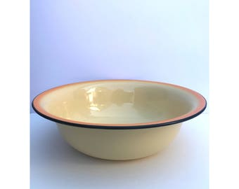 Vintage Enamel Bowl -- Big Enamel Bowl -- Enamel Salad Bowl -- Enamel Mixing Bowl -- Yellow Enamel Bowl -- Large Enamel Bowl --