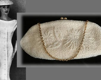 Elegant Vintage White Beaded Evening Bag with Intricate Floral Design and Rhinestone Clasp, Found at San Francisco Flea Market