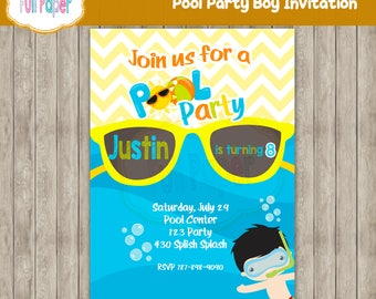 Pool Party Boy, Splish Splash, Pool Party Invitation, Swimming Pool Birthday Party, Pool Party, Swimming Birthday, Swimming Party, Summer