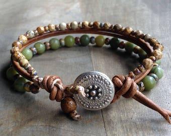 Jade 6mm bohemian bracelet boho chic bracelet gypsy  bracelet womens jewelry boho bracelet hippie bracelet gypsy jewelry natural bracelet