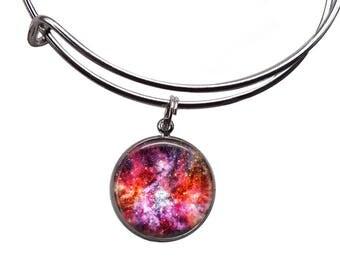 Red Galaxy Charm Bangle | Galaxy Bracelet Galaxy Jewelry Nebula Bracelet Space Jewelry Cosmic Star Bracelet Boho Jewelry Charm Bracelet