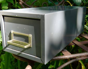 Card File Cabinet, Globe Weis, Industrial, Drawer, Gray, Metal Drawer, Cabinet, Office, Man Cave Organizer, 3 x 5 File Cards, Single Drawer