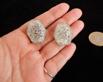 silver glitter handmade resin earrings fakelite statement earrings