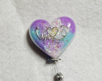 Heart rhythm name badge holder with a purple/blue/white background, Heart, stethoscope detail