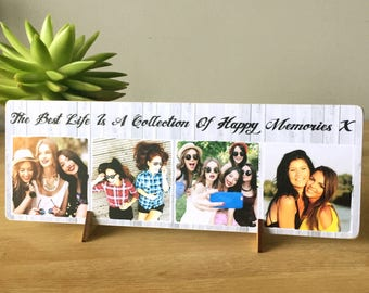 """11x4"""" Freestanding Personalised Photo & Text Plaque Best Friend Friendship Family Birthday gift present NEW"""