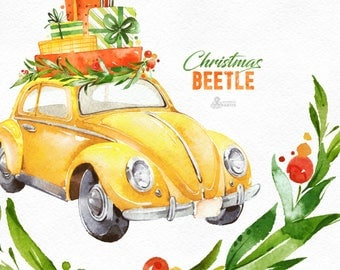 Christmas Beetle Yellow. Watercolor holiday clipart, vintage, retro car, winter, Christmas tree, floral wreaths, xmas, merry, holly, cards