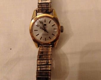 Vintage Tissot Seastar Visodate 17 Jewel Ladies Watch w/Speidel Stretch Band - Works
