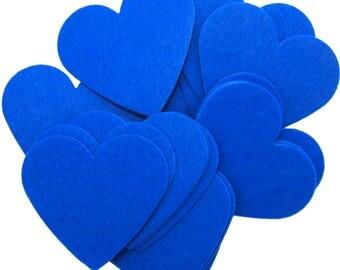 Blue Stiff Felt 3 Inch Hearts (22pc)