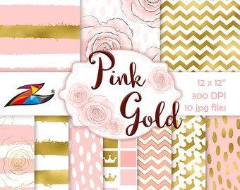 Gold digital paper Pink and gold party Digital scrapbooking Gold and Blush wedding Crown Digital paper Baby Shower Pink pattern background