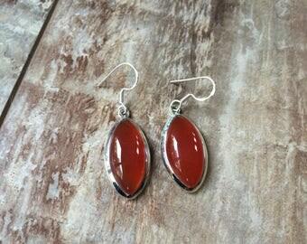 925 Sterling silver Carnelian gemstone earrings