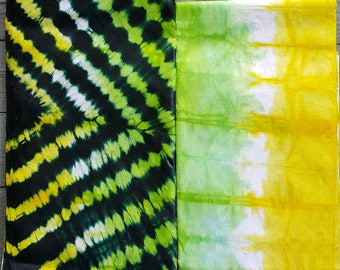 Hand-dyed African Yellow and Green tie-dye Damask 5-yd pack from Mali (aka Bazin and Brocade)