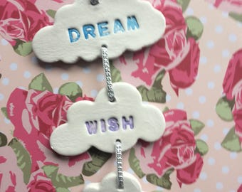Hanging 3 cloud clay mobile inscribed Dream, Wish, Love