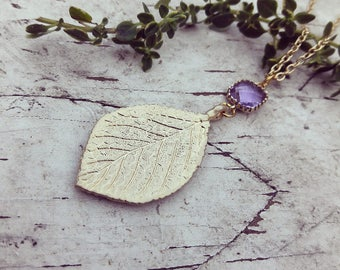 Gold plated Leaf And Amathyst Necklace
